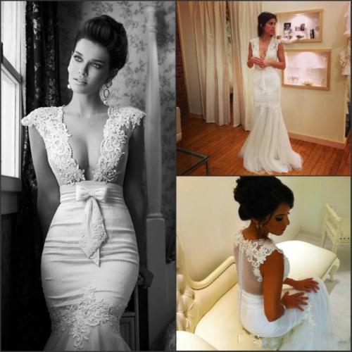 Cheap Mermaid Wedding Dresses - Discount V Neck Appliques Mermaid Wedding Dresses Bow Sheer Online with $136.13/Piece | DHgate