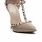 Double ankle studded t-strap pointy toe heel - nude
