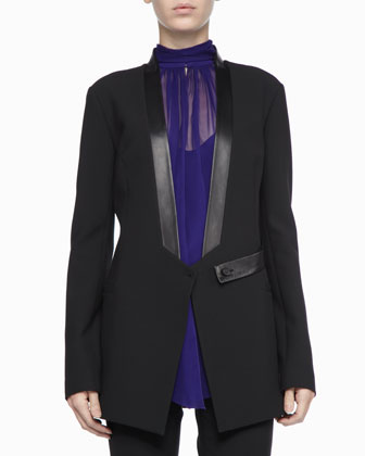 Robert Rodriguez Leather-Trim Tuxedo Jacket & Sleeveless Silk Halter Top - Neiman Marcus