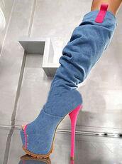 shoes,demin boots,boots,denim,knee high boots,knee length,denim pink high heels,high heels,summer boots,denim boots