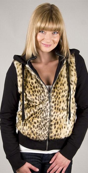 Juicy couture faux fur hoodie in black