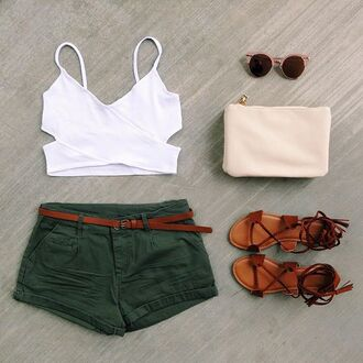 shorts olive green cargo pants belted coachella festival ootd spring summer crop tops fringes braid gojane