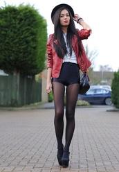 clothes,shorts,platform shoes,leather jacket,shoes,High waisted shorts,black,leather,jacket