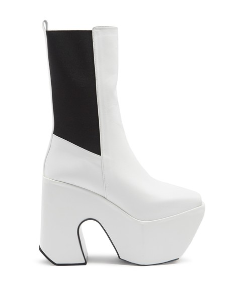 open platform boots leather white shoes