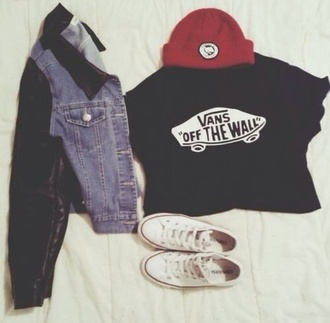 coat hat shirt vans off the wall beanie denim jacket