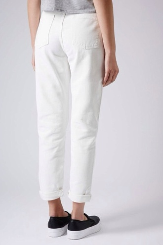jeans white mom jeans white demin topshop american apparel size 6 uk