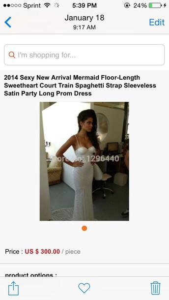 dress white prom dress sleevess spagetti straps