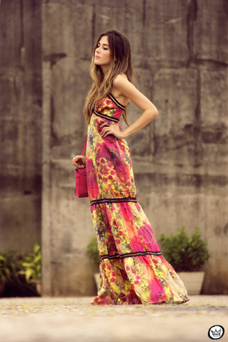 pink blogger bag jewels fashion coolture maxi dress colorful