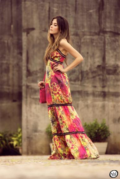 bag colorful pink fashion coolture blogger jewels maxi dress