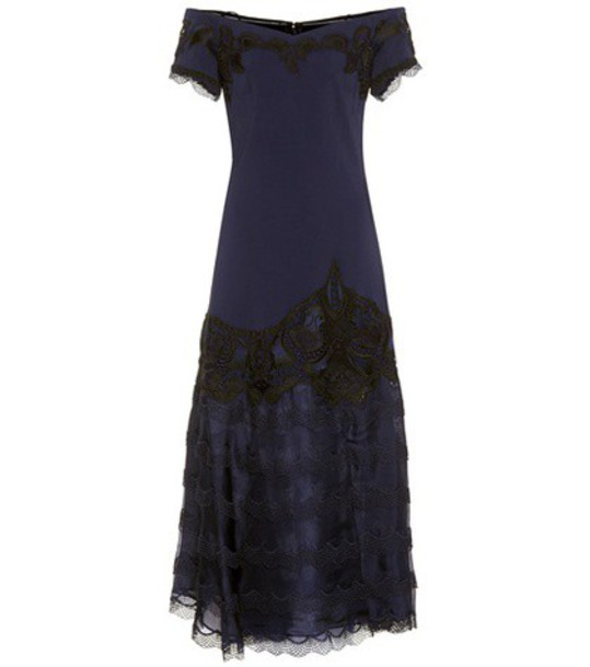 Jonathan Simkhai Lace-trimmed crêpe dress in blue