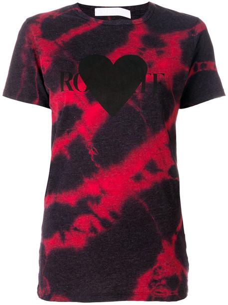 Rodarte - tie dye heart logo print T-shirt - women - Cotton/Polyester/Rayon - S, Red, Cotton/Polyester/Rayon