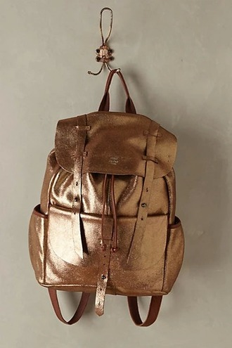 bag leather bag backpack shiny metallic