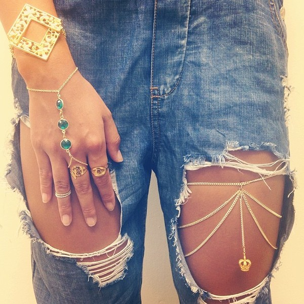 jewels gold chain wristlet ring