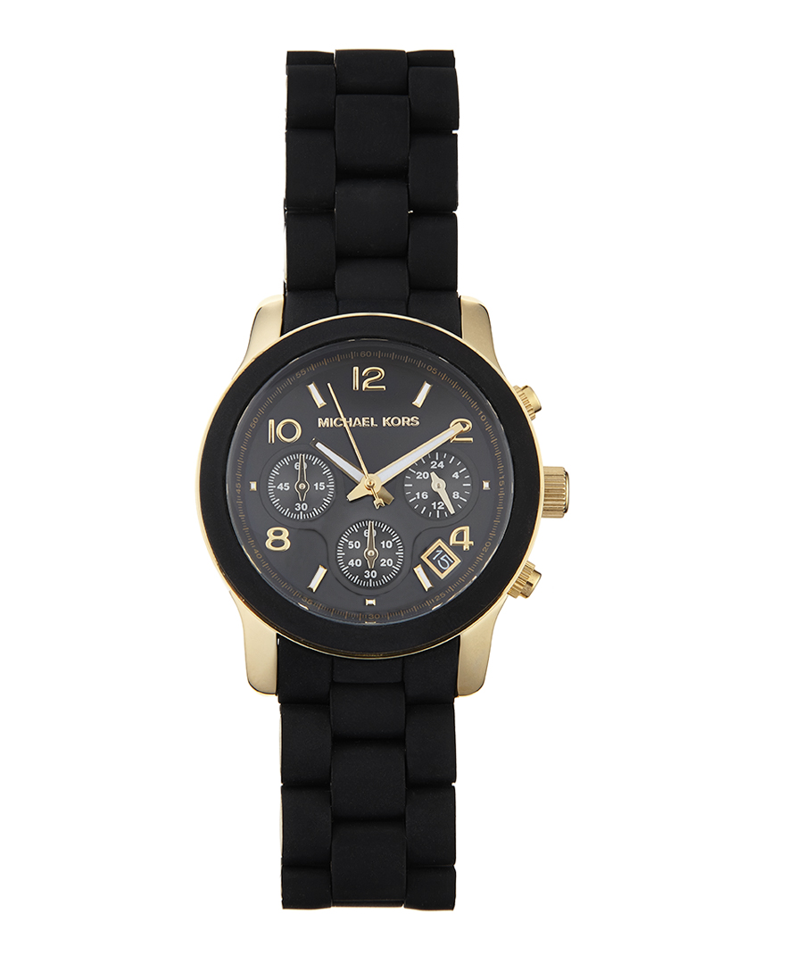 Plated and black silicone watch, designer jewellery sale, michael kors watches, secretsales