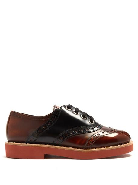 Miu Miu lace leather tan shoes