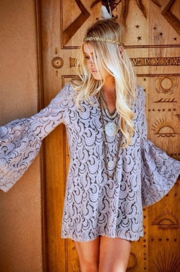 dress blue bohemian hippie