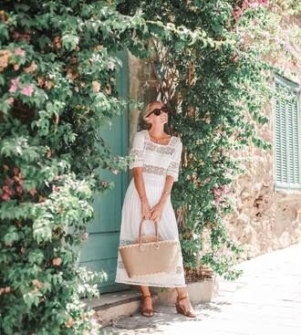 dress tumblr white dress midi dress lace dress short sleeve dress bag summer dress sandals mid heel sandals sunglasses vacation outfits shoes