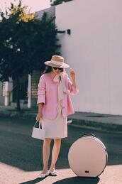 hallie daily,blogger,coat,dress,hat,bag,round bag,pink jacket,fall outfits