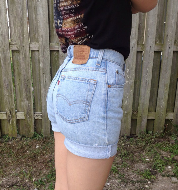 waisted shorts LEVIS denim shorts cuffed by JessieJeans