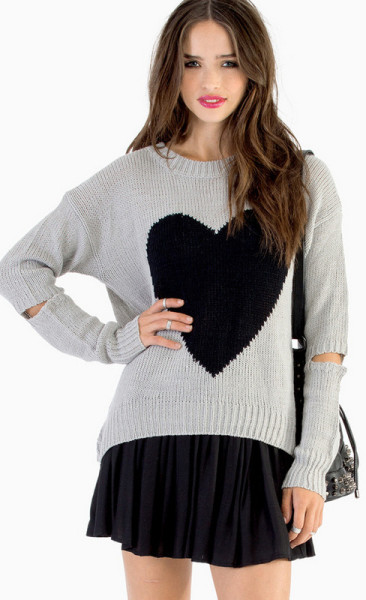 Tobi Acting A Heart Sweater in Black (Grey & Black) | Lyst