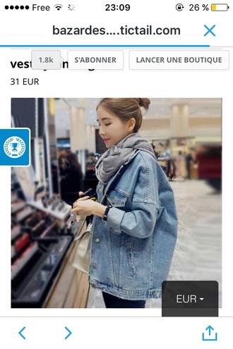 coat jacket jeans blue loose large vestesenjean vestes