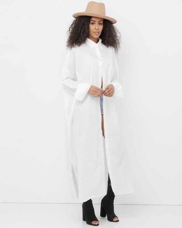 ERYKAH Long Button Down White Maxi Shirt Dress at FLYJANE