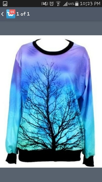 sweater blue sweater purple sweater tree nature