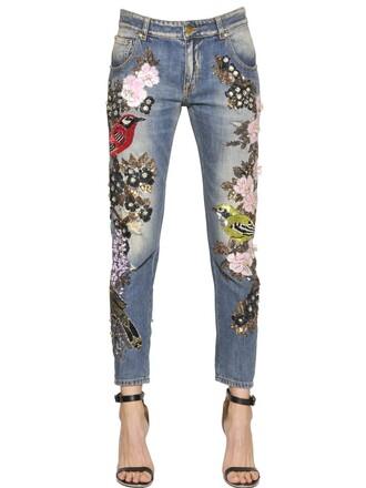 jeans denim embellished couture cotton blue