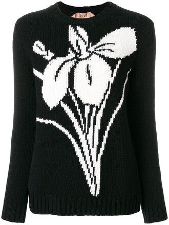 sweater women floral black wool