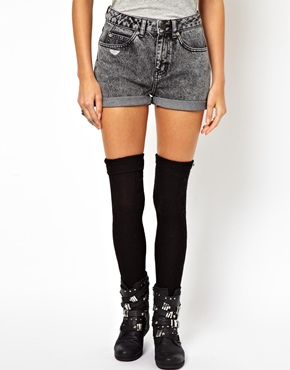 ASOS | ASOS Denim Mom Shorts in Washed Gray at ASOS