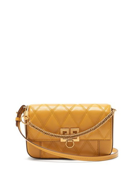 Givenchy - Pocket Quilted Leather Cross Body Bag - Womens - Yellow
