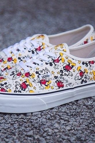 shoes vans vans off the wall disney disney shoes mickey mouse white bag colorful