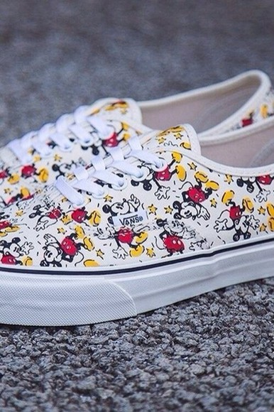 shoes vans disney mickey mouse colorful disney shoes white bag
