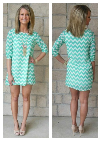 dress chevron preppy turquoise mint green short shift dress