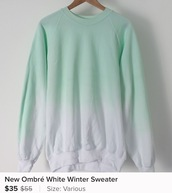 sweater,cold,ombre,sweatshirt,cute,blues,ea,turquoise,teal,faded,washs,style,sale,feminine