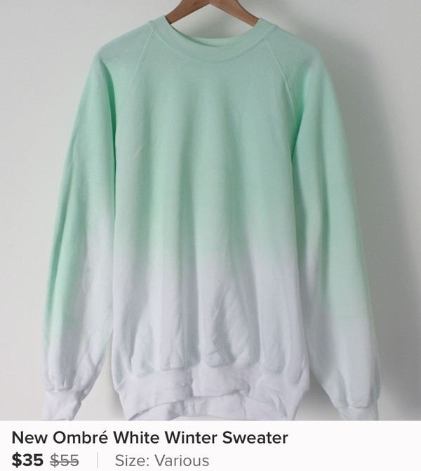 sweater cold ombre sweatshirt cute blues ea turquoise teal faded washs style sale feminine