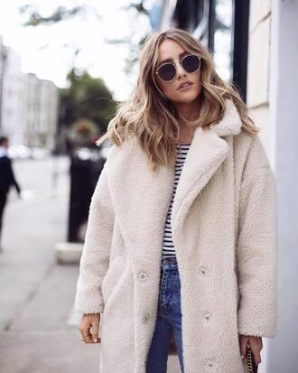 coat tumblr white coat fuzzy coat teddy coat sunglasses teddy bear coat