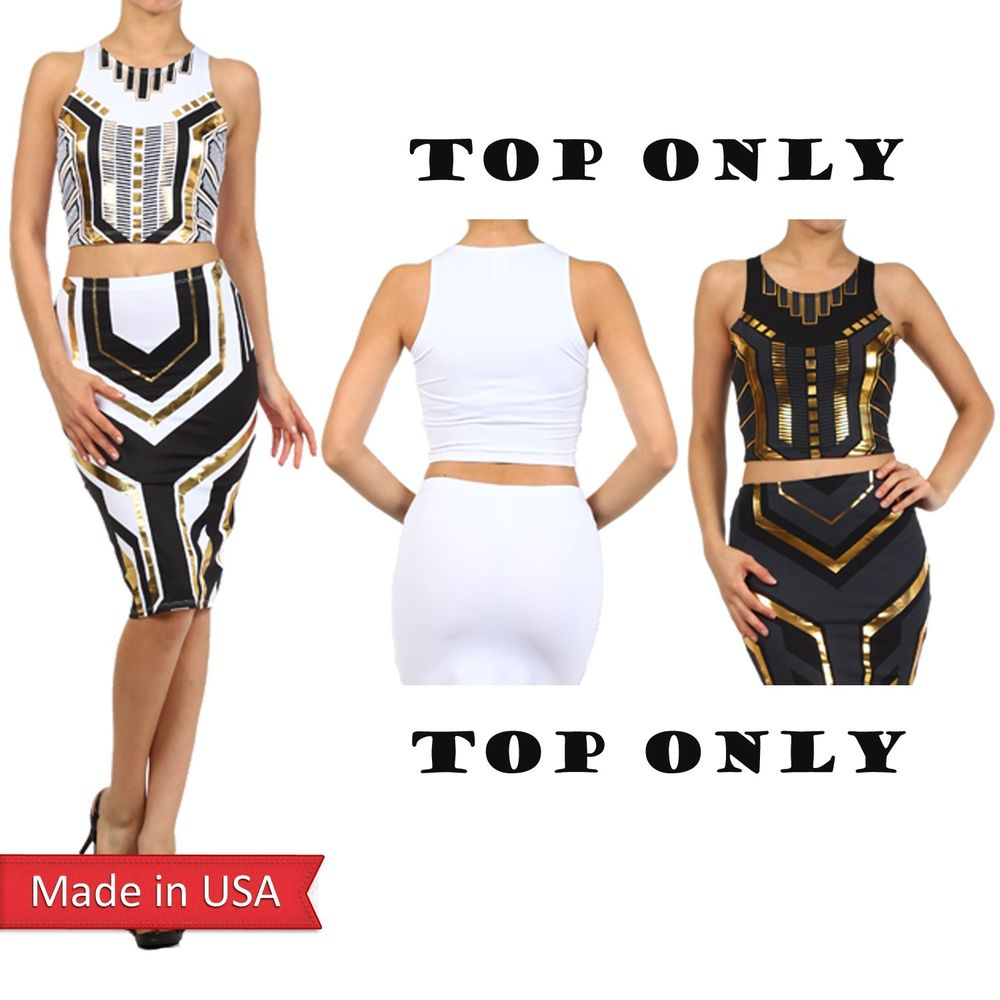 Egyptian Egypt Princess Gold Foil Print Black White Cropped Tank Top Shirt USA