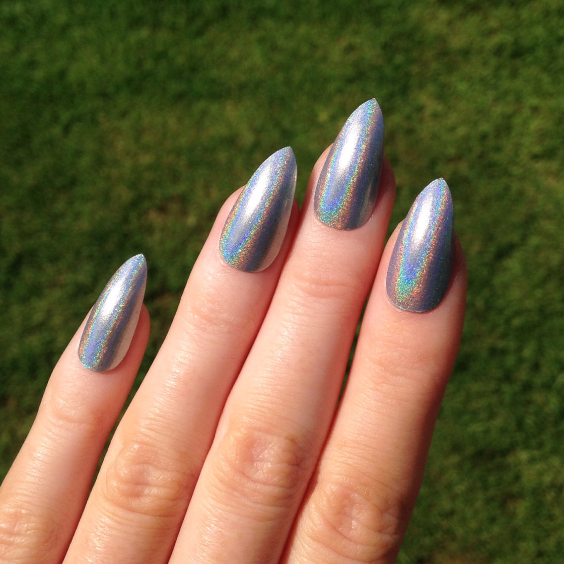 Ultra Holographic Silver Stiletto Nails Nail Designs Art Acrylic Pointy
