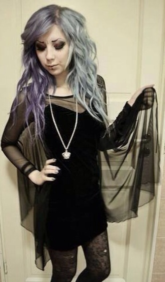 dress black black dress goth cute felt see through see through dress long sleeve dress bat sleeves felt dress coat