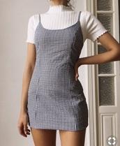 dress,mini dress,white,black dress,black,black and white,plaid skirt