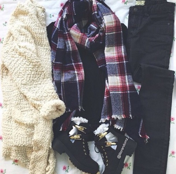 cardigan scarf t-shirt skirt jeans shoes