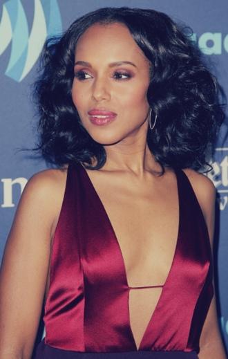 dress kerry washington celebrity style celebrity red dress v neck dress plunge v neck pink lipstick lipstick hairstyles
