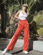 pants,wide-leg pants,top,white top,sports pants,sweatpants,shoes,sneakers