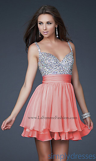 Short Beaded Party Dresses, La Femme Dresses - Simply Dresses