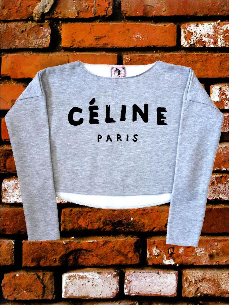 Celine paris geek hippie hype sport grey unisex crop top sweatshirt one size