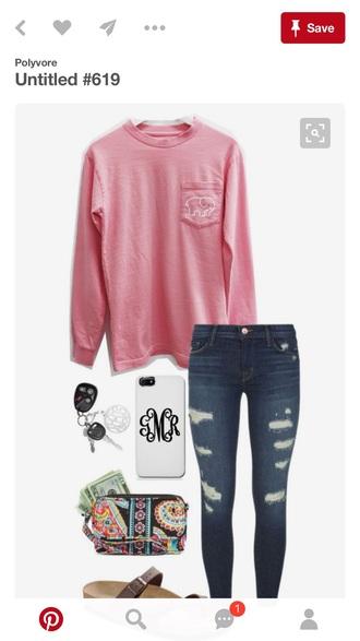 top elephant pink long sleeves
