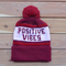Burgundy positive vibes knit beanie
