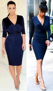 dress,blue,prom,kim kardashian,rihanna,low cut,midi,fashion toast,blue dress,royal blue,long sleeve dress,celebrity style
