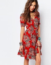 dress,red dress,red floral dress